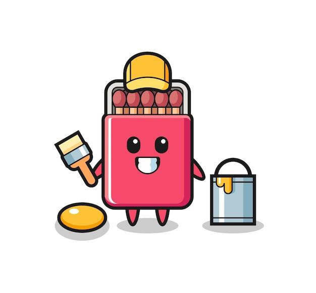 Ilustración de personaje de caja de fósforos como pintor, diseño lindo