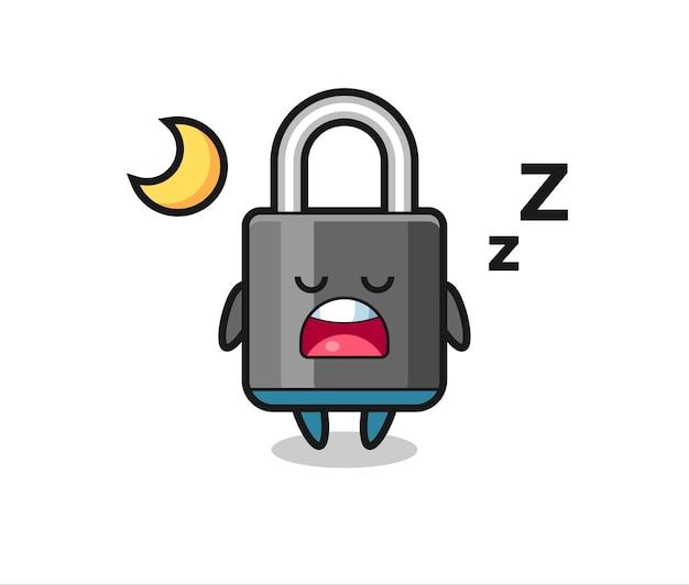Ilustración de personaje de candado durmiendo por la noche, diseño de estilo lindo para camiseta, pegatina, elemento de logotipo
