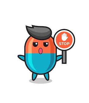 Ilustración de personaje de cápsula con una señal de stop, diseño de estilo lindo para camiseta, pegatina, elemento de logotipo