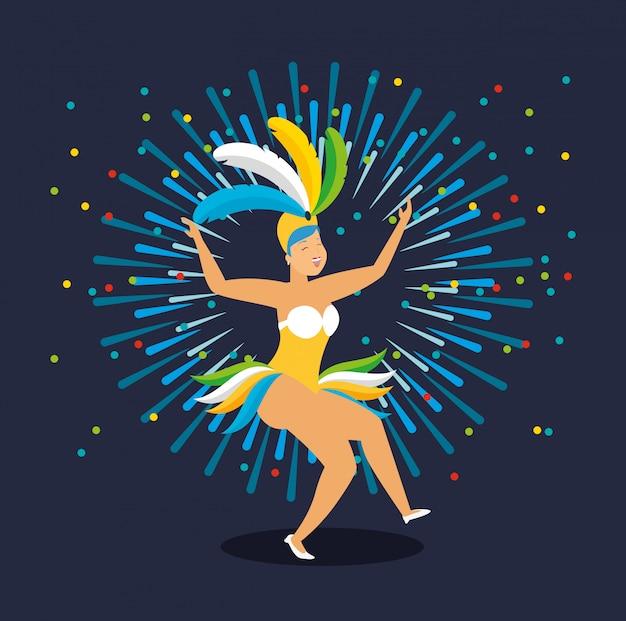 Ilustración de personaje de carnaval bailando garota brasileña