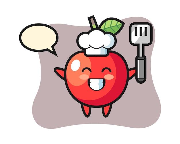 Ilustración de personaje de cereza como chef está cocinando, diseño de estilo lindo
