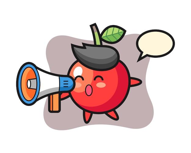 Ilustración de personaje de cereza con un megáfono, diseño de estilo lindo