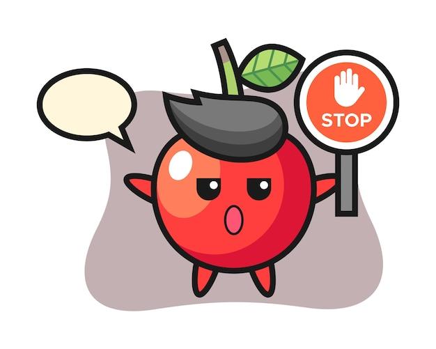 Ilustración de personaje de cereza con una señal de stop, diseño de estilo lindo