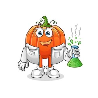 Ilustración de personaje científico de calabaza