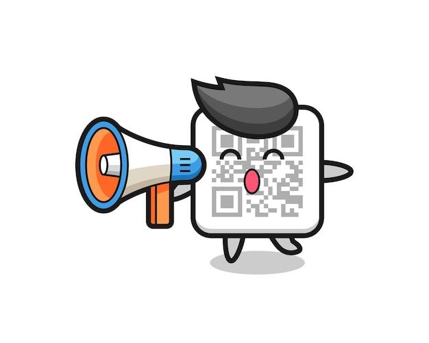 Ilustración de personaje de código qr sosteniendo un megáfono, diseño lindo
