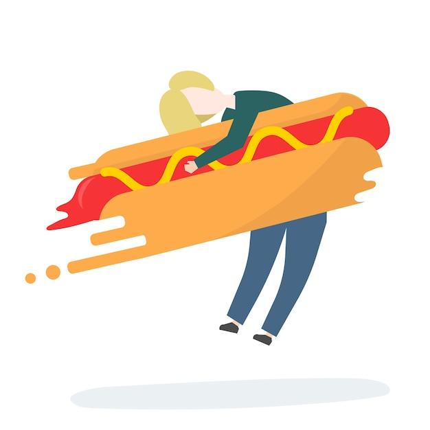 Ilustración de personaje con comida rápida.