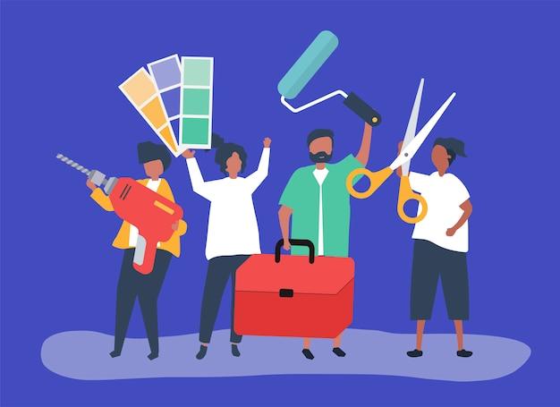 Ilustración de personaje de concepto de mejoras para el hogar