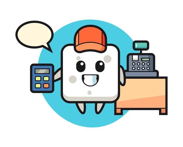 Ilustración del personaje del cubo de azúcar como cajero, estilo lindo para camiseta, pegatina, elemento de logotipo