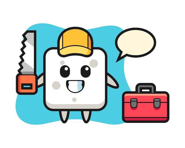 Ilustración del personaje del cubo de azúcar como carpintero, estilo lindo para camiseta, pegatina, elemento de logotipo