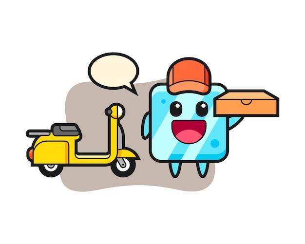 Ilustración de personaje de cubo de hielo como repartidor de pizzas