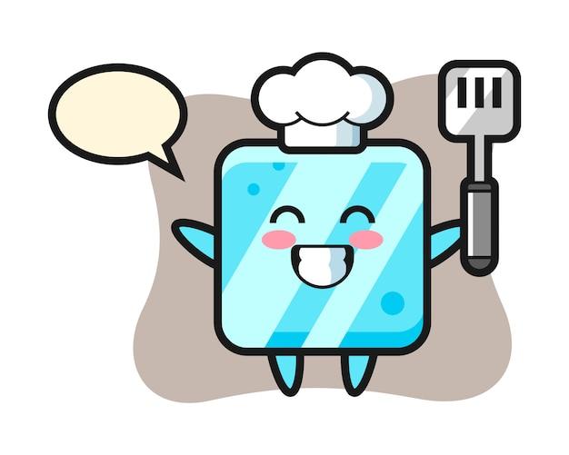 Ilustración de personaje de cubo de hielo mientras un chef está cocinando