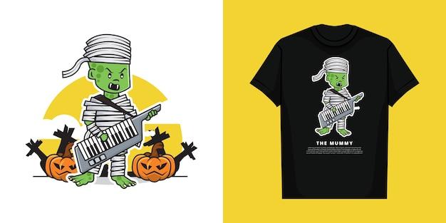 Ilustración del personaje de cute mummy boy tocando el piano con el teclado de la guitarra con diseño de camiseta