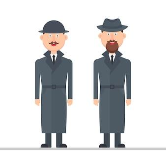 Ilustración de personaje detective aislado sobre fondo blanco.