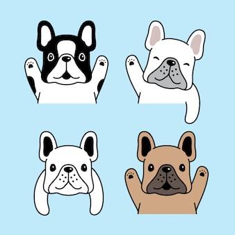 Ilustración de personaje de dibujos animados de bulldog francés perro
