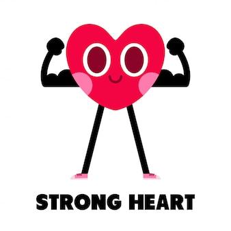 Ilustración de personaje de dibujos animados de corazón fuerte