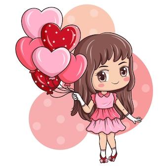 Ilustración del personaje de dibujos animados en el día de san valentín