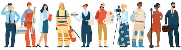 Ilustración de personaje de dibujos animados de diferentes profesiones de personas