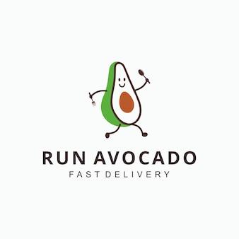 Ilustración de personaje de dibujos animados divertido diseño de logotipo de dieta de alimentos de fruta de aguacate