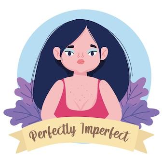 Ilustración de personaje de dibujos animados de flores de mujer gordita perfectamente imperfecta
