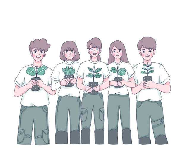 Ilustración de personaje de dibujos animados de grupo de jóvenes plantando árboles