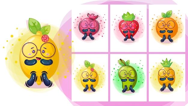 Ilustración de personaje de dibujos animados lindo fruite