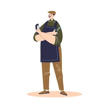 Ilustración de personaje de dibujos animados masculino lindo peluquero