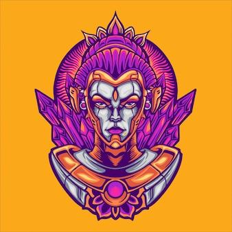 Ilustración del personaje de la diosa cyborg