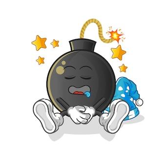 Ilustración de personaje durmiendo bomba