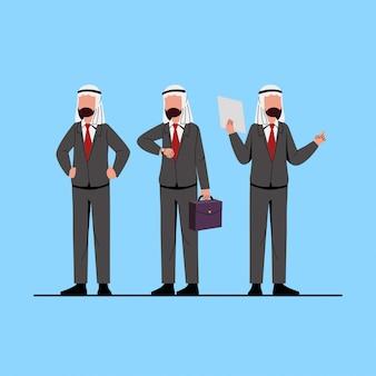 Ilustración de personaje empresario musulmán árabe