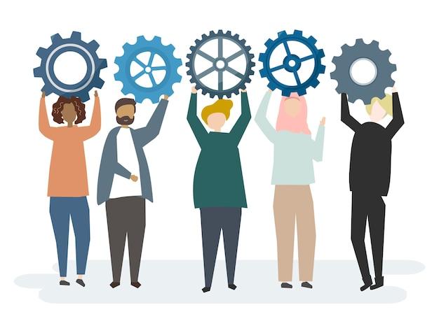 Ilustración del personaje con engranajes de rueda dentada que retratan el concepto de trabajo en equipo
