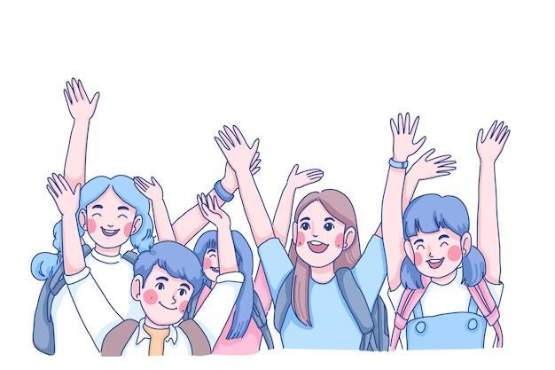 Ilustración de personaje del equipo juvenil. concepto del día de los niños.