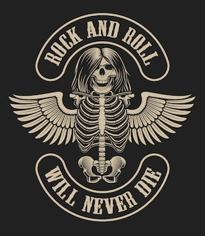 Ilustración con un personaje esqueleto con alas en estilo vintage sobre un fondo oscuro sobre el tema de la música rock.