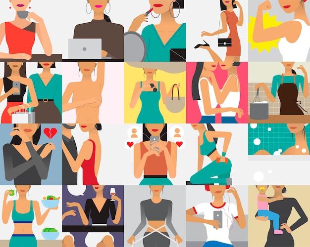 Ilustración del personaje de estilo de vida de la mujer