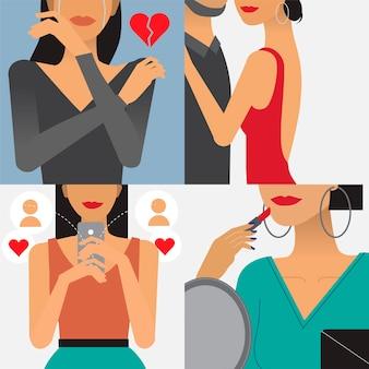 Ilustración de personaje de estilo de vida de mujer