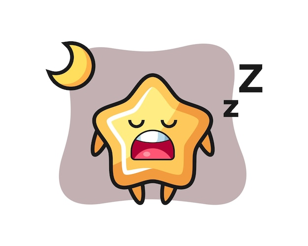 Ilustración de personaje estrella durmiendo por la noche, diseño de estilo lindo para camiseta, pegatina, elemento de logotipo