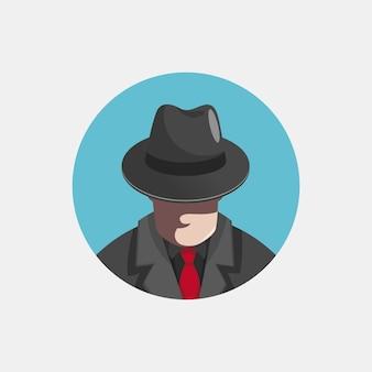 Ilustración de personaje de gángster misterioso