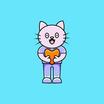 Ilustración de personaje de gato lindo con estilo de dibujos animados de amor