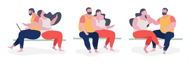 Ilustración de personaje gordo de pareja