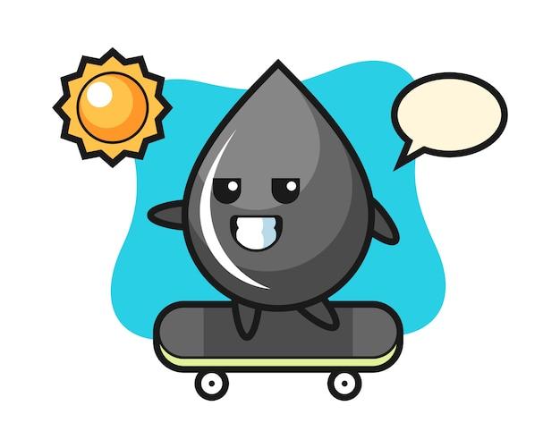 Ilustración de personaje de gota de aceite andar en patineta