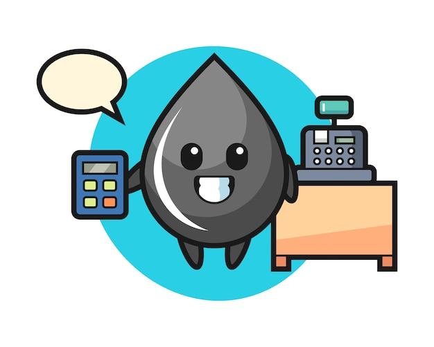Ilustración del personaje de gota de aceite como cajero.