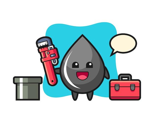 Ilustración de personaje de gota de aceite como fontanero