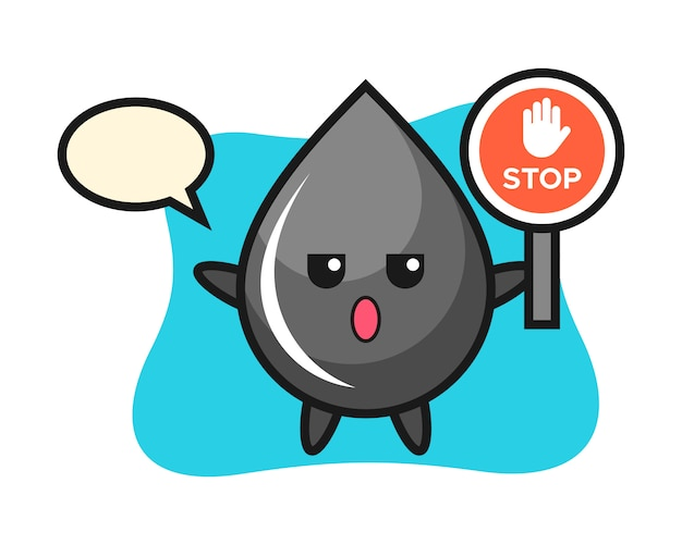 Ilustración de personaje de gota de aceite con una señal de stop