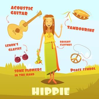 Ilustración de personaje hippie