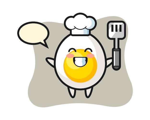 Ilustración de personaje de huevo cocido como un chef está cocinando