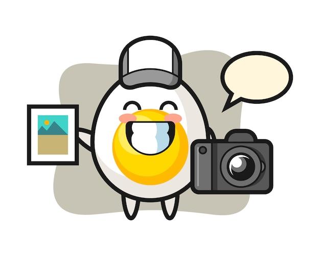 Ilustración de personaje de huevo cocido como fotógrafo
