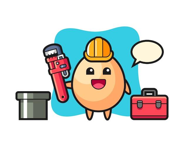 Ilustración de personaje de huevo como fontanero, diseño de estilo lindo para camiseta, pegatina, elemento de logotipo