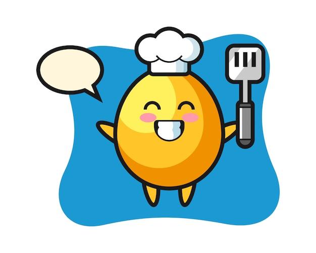Ilustración de personaje de huevo de oro como chef está cocinando, diseño de estilo lindo
