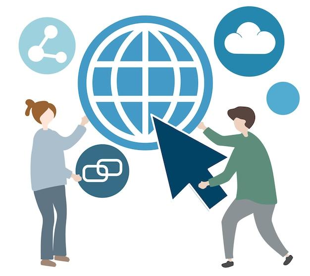 Ilustración de personaje con icono de comunicación global.