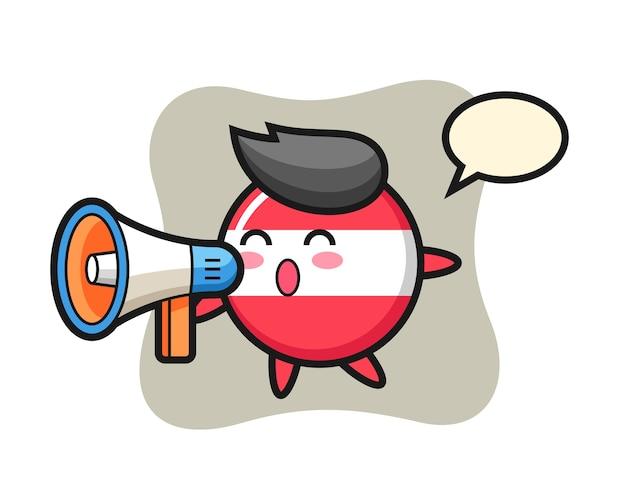 Ilustración de personaje de insignia de bandera de austria sosteniendo un megáfono