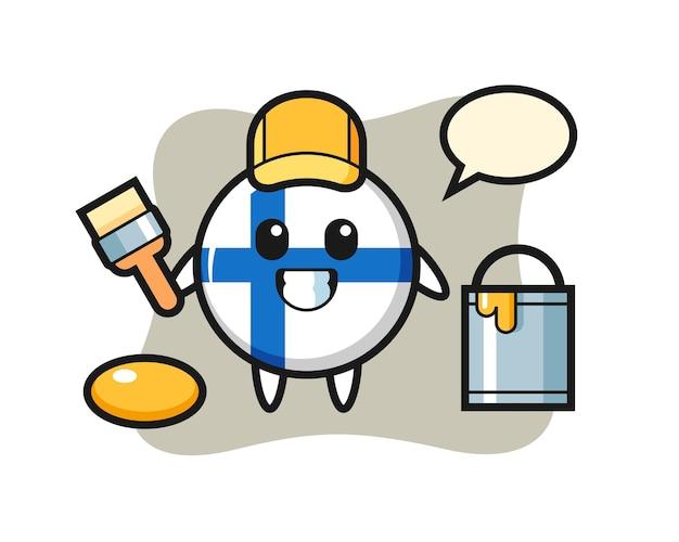 Ilustración de personaje de la insignia de la bandera de finlandia como pintor, diseño de estilo lindo para camiseta, pegatina, elemento de logotipo